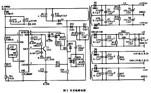 该电路主要由pwm控制器tl3842p、mosfet k1317和开关变压器组成,其功能是对整流电路的直流输出电压进行变换,为ipm模块和外接的计算机控制电路提供电源,提供的电压为±15 v、+12 v、+5 v.