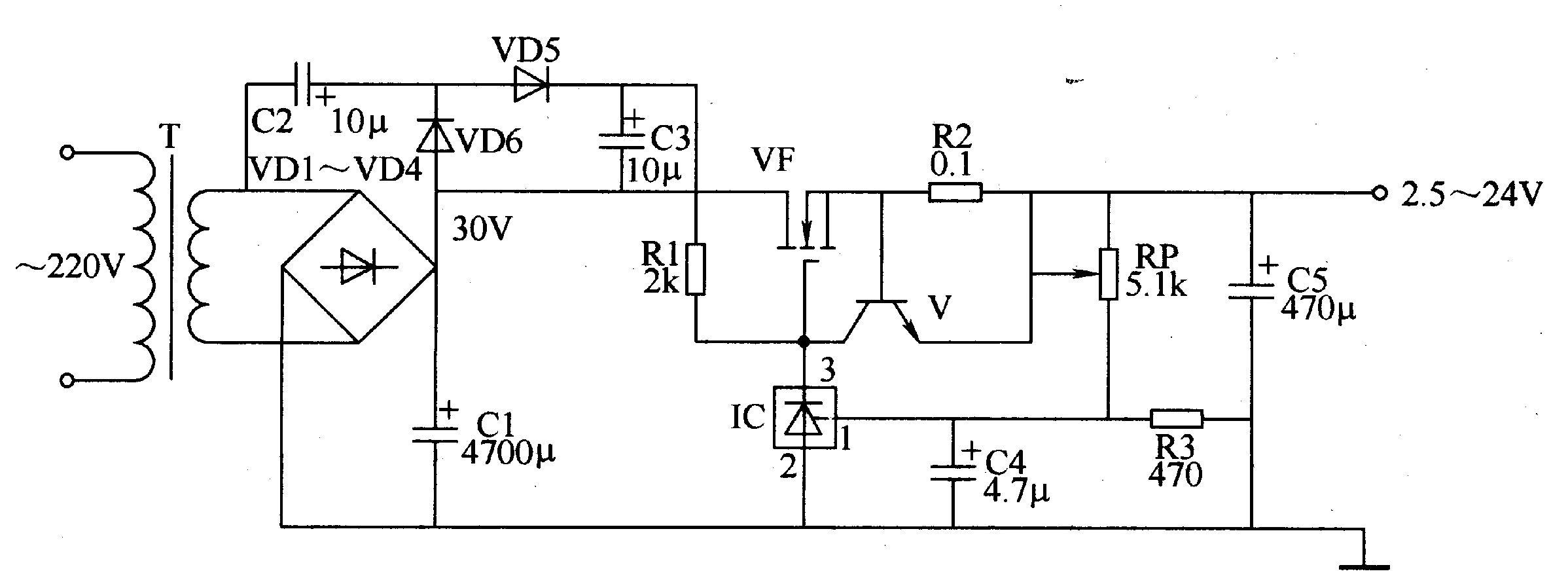 输入电路由电源变压器T、整流二极管VDl-VD4和滤波电容器Cl组成。   倍压电路由二极管VD5、VD6和电容器C2、C3组成。   取样控制电路由电阻器Rl、R3、电位器RP、电容器C4和稳压集成电路lC组成。   限流保护电路由晶体管V和电阻器R2组成。   电压调整输出电路由电源调整用场效应晶体管VF、稳压集成电路IC、电阻器Rl、R2和滤波电容器C5组成。   交流220V电压经T降压、VDl-VD4整流、Cl滤波后,产生30V直流电压。该电压一路直接加至VF的漏极 (D极)上;另一路经倍