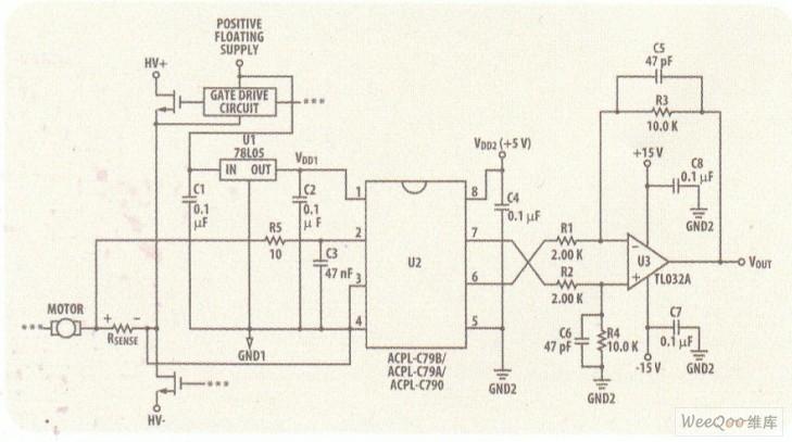 型电机电流感应电路.-带有0.5 增益精度和1140Vpeak工作电压的光图片