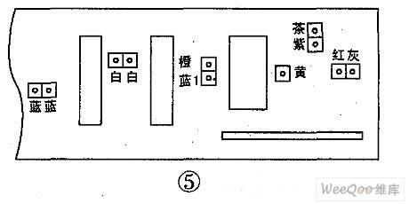图6是海尔洗衣机电脑板,其中红白-红白接门开关;蓝灰接进水阀;橙-橙