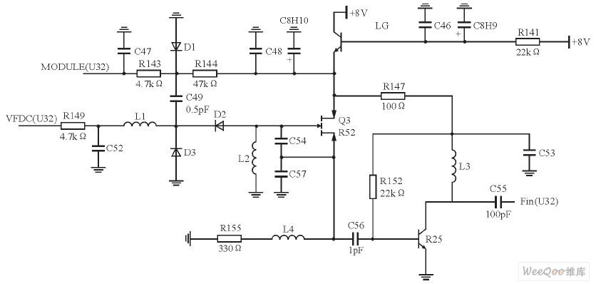 (U32)为基带的GMSK信号, 该信号可控制变容二极管D1, 以使D1的容值随信号的幅度发生变化。因此, VCO的输出频率受基带GMSK信号的控制,则VCO的频率输出端Fin (U32) 的信号(262.025MHz或261.975 MHz) 包含基带GMSK信号的信息,也就是说, 该信号就是调频信号。基带的GMSK信号可控制D1, 从而改变VCO的发射频率的频偏。VFDC (U32) 是锁相环的控制电压输入端,PLL通过该控制电压可控制VCO, 以使其工作在设定的中心频率上。LG (2SC2712)