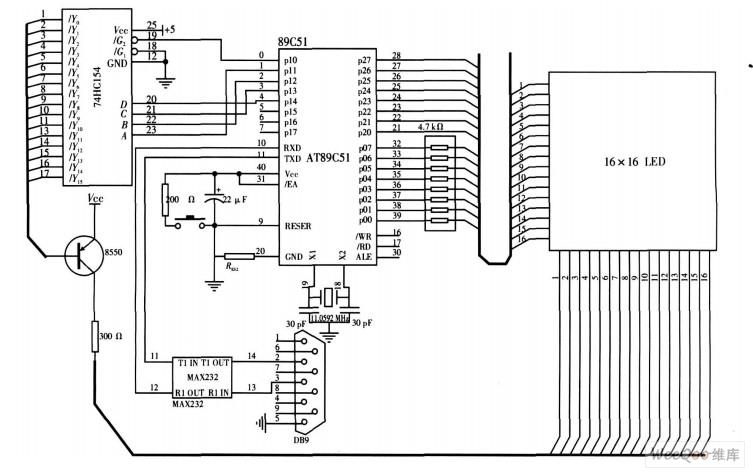 硬件电路原理图; 单片机控制电路设计 led显示屏的设计采用以; 利用la图片