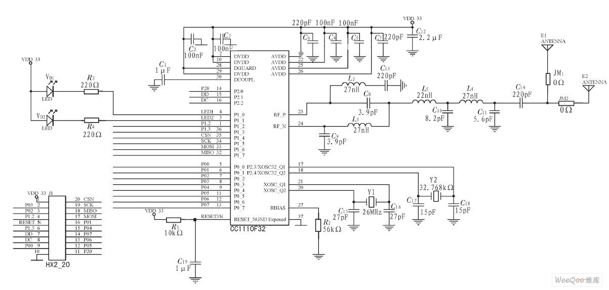 高频无线模块cc1110外围电路