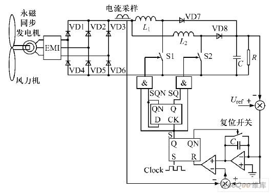 控制的并联boostpfc变换器分析与设计;     直驱型风力发电系统原理图片