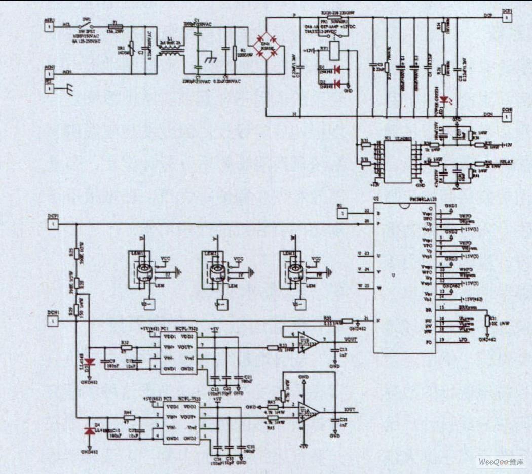 永磁同步电机矢量控制系统的功率电路