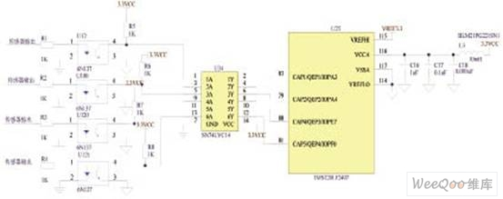 图3 用施密特触发器对脉冲整形   语音提示模块的硬件设计   语音提示是语音芯片ISD1730驱动扬声器实现的。   当汽车在山区道路上运行时,由输入模块采集所需信号信息,经控制器模块综合计算判断其安全程度,若不安全,再由DSP(TMS320LF2407A)模块输出控制语音模块,语音芯片输出的音频信号通过功放电路输出,从而实现预警功能。DSP(TMS320LF2407A)内部集成了SPI接口,可方便的与ISD1730进行串行通信,TMS320LF2407A与语音芯片的接口电路如图4所示。