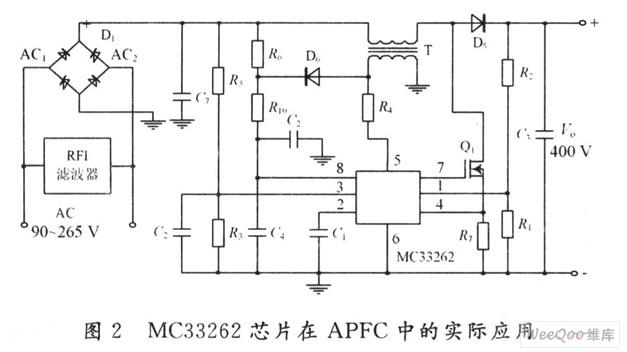 在图1中,5脚是零电流检测输入端,接在变压器二次侧,因而检测到的是电感电流,即外电源流入负载的电流。当电感电流为零时,ZCD的输出翻转,将内部的RS触发器置1,7脚输出高电平,使Q1导通。外电源通过桥式整流,使变压器一次侧和Q1导通,电流流过变压器一次侧,将电能储存于电感中。当电感电流增大到一定值时,Q1又关断,这也是通过RS触发器进行控制的。1脚接PFC输出电压的分压,该电压经EMP放大后,与由3脚输入的电压分压值在MULT中相乘,MULT的输出与由4脚输入的Q1的电流比较。   当输入Q1的电