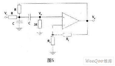 通过以上类似计算可得带通滤波电路的传递函数为: