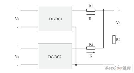两台开关电源并联的电路模型