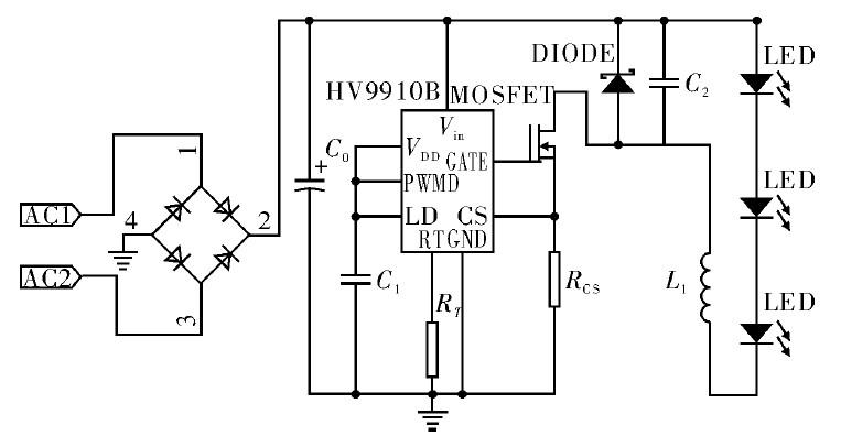 图2 基于芯片HV9910B 控制的LED 驱动电路