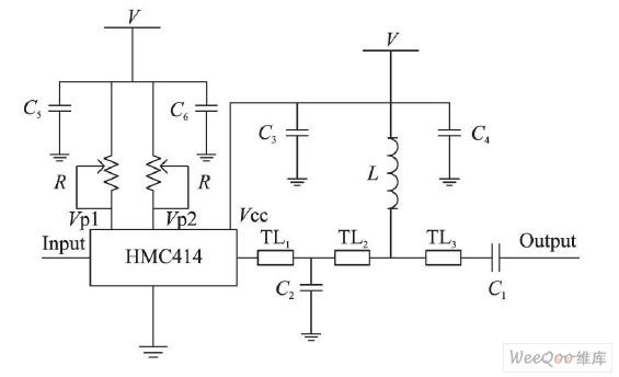 图2 第一级功放电路图-200W平衡式脉冲功率放大器的设计与实现