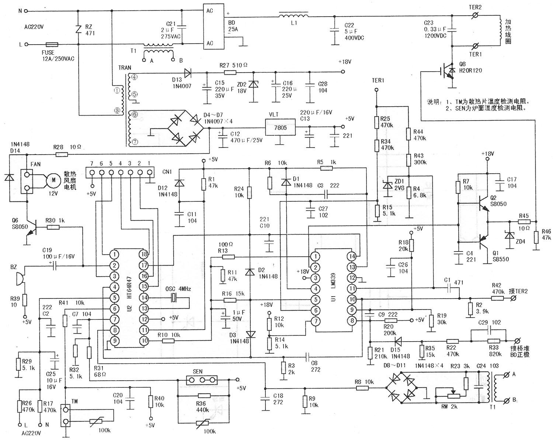 220V交流市电经电阻R17、R26和R29分压,电容C2和C25滤波取样后,加到主控芯片U2脚。当市电发生较大变化时,若取样电压超出了U2内部设定的上/下限范围。CPU芯片随即关断PWM加热脉宽调制信号。   9.锅质/加热电流检测电路   由电流互感器T1、整流桥D8~D11、微调电阻器RW及电阻R23、R8、R9等元件组成负载电流检测电路。开机选定功能后,当无锅、放置位置不当或锅质不符合要求,即未达到U2内部最小设定值时,CPU发出蜂鸣报警信号,超过lOs,CPU将执行关机指令,若是检测的负载电