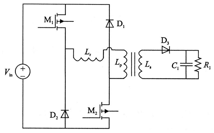双管反激变换器电路拓扑结构