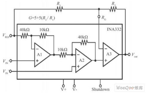 仪表放大器ina332 结构图