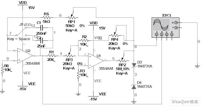 方波-三角波函数发生器电路
