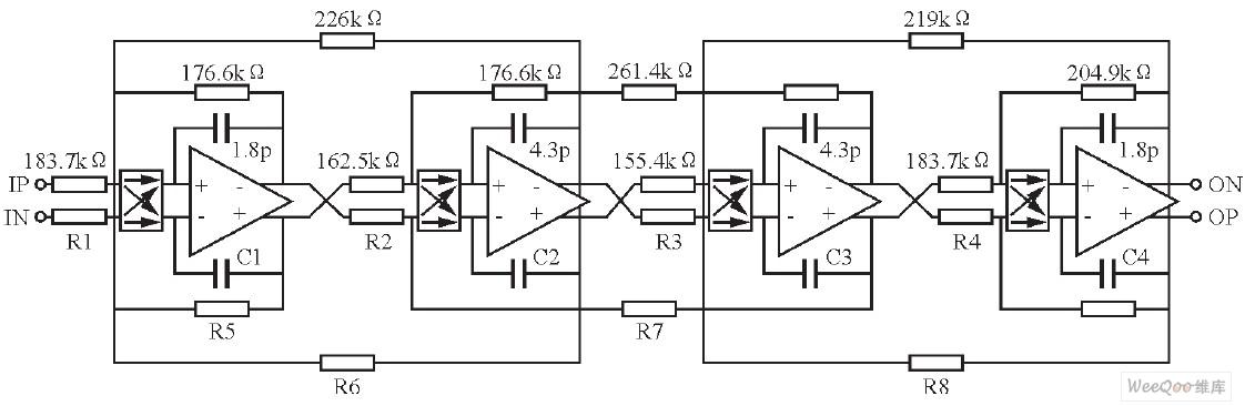 四阶切比雪夫Ⅰ型低通滤波器结构图