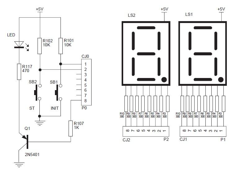 二位led数码管单片机接线图
