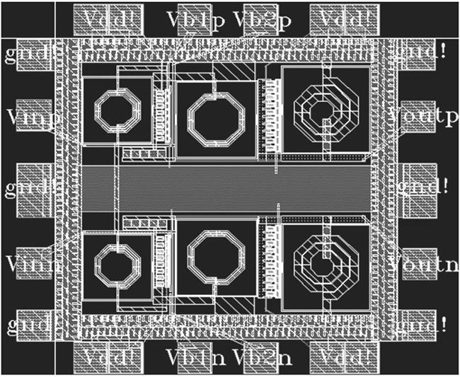图5 A类功率放大器版图   5 总结   采用台积电0.18umCMOS工艺设计了中心频率在5.25GHz的功率放大器,其中使用了共源共栅电感对功率放大器电路进行改进,在一定程度上提高了功率放大器的效率,仿真得出的性能参数也正说明了这点,基本能够满足WLAN802.11a系统在5.15GHz~5.