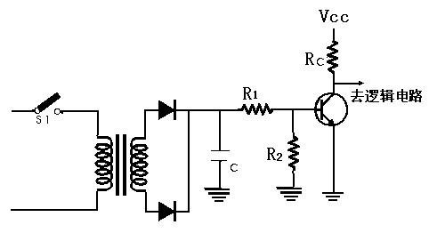 三极管开关当作输入部份与逻辑部份之间的界面