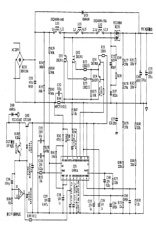 图1 LG V7 等离子屏黑色电源板PFC 部分具体电路图