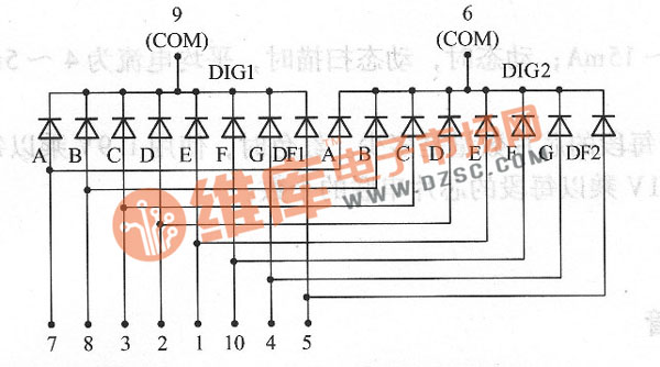 2位数码引脚图_常用两位数码管的引脚排列