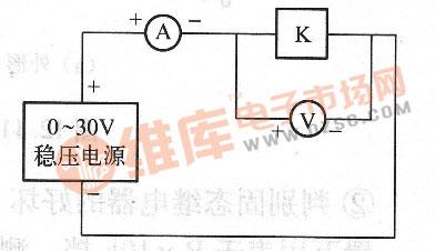 将继电器线圈串联到电路中,电压表并联在线圈的两引脚上,电流表也串入