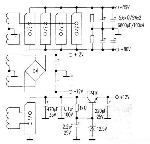 ±80v供功放电路使用;±12v供前置放大ic(jrc4558d)