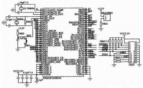 复位电路设计成按键; stm32f的汽车远程防盗系统实现原理分析1; 并送
