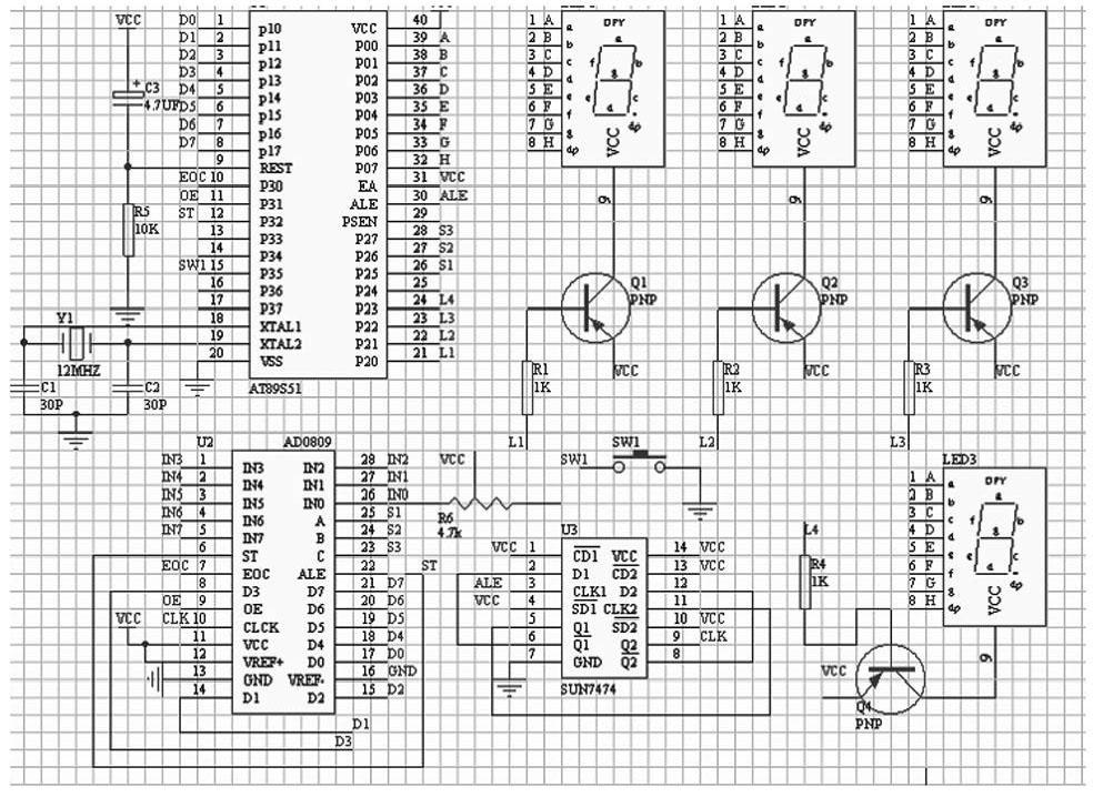 图3 多气体检测系统电路