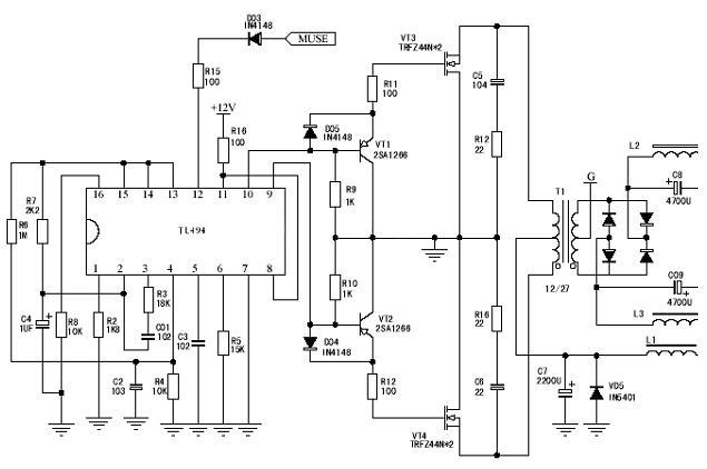 TL494在汽车音响供电电源中的应用图片