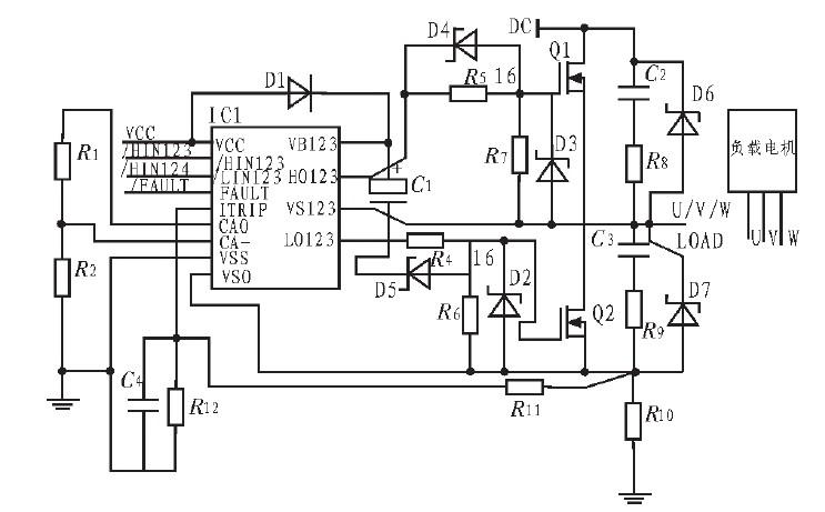 图3 无刷直流电机驱动原理图-MOSFET的驱动保护电路的设计与应用图片