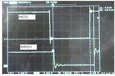 示波器观察HCS与HRDY之间的时序关系
