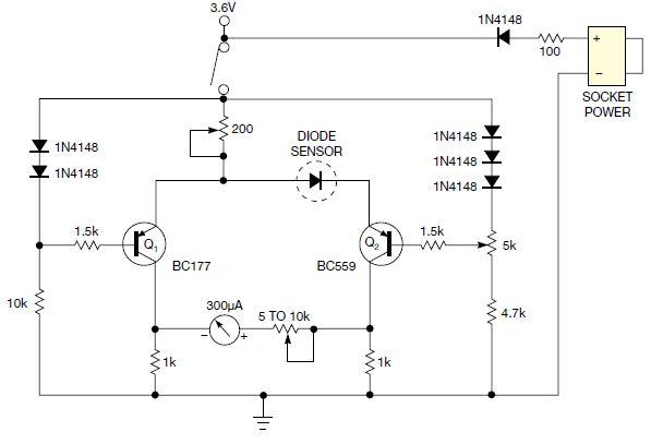 简单二极管用作热探针的传感器