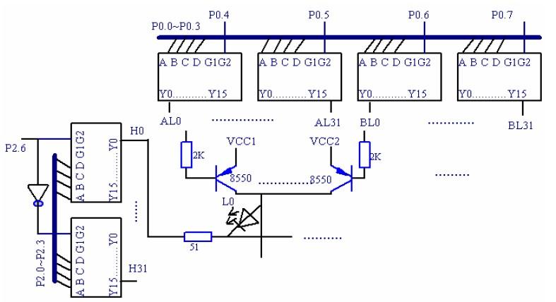 图1-1 LED驱动电路 显示电路部分功能及原理 为了满足系统在工作时能准确显示光笔对应亮点所处的行列坐标值,我们采用型号为LCM103的液晶显示器显示。LCM103为10位多功能通用型8段式液晶显示模块,内含看门狗时钟发生器2种频率的蜂鸣驱动电路内置显示RAM,可显示任意字段笔画划3-4线串行接口可与任何单片机接口。其接口应用模块如图1-2所示:引脚排列图如表1-3所示。