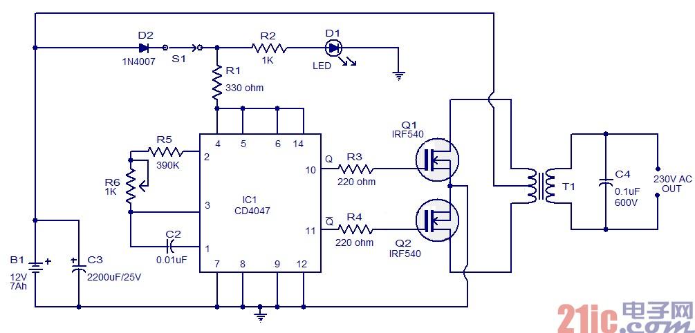 简单100w逆变器电路图设计