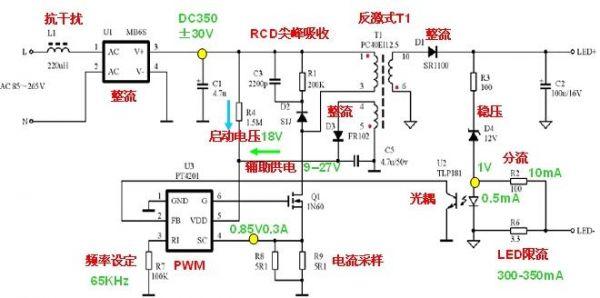 图7 PT4201的E27 3W离线式射灯电路图   3W E27的应用一般负载接3颗1W的LED,每颗LED的VF在3.4V+-0.2V左右。一般电流为300mA-350mA.工作原理如图7所示,AC85V-265V交流电输入,通过L1(相当于一个保险丝,抗浪涌)后接入整流桥,从整流桥出来的电压大约为1.4XVin,电流1A左右。C1 是一个滤波电容,电容值的选择大约是负载功率的1-3倍即可,此处3W的应用采用4.