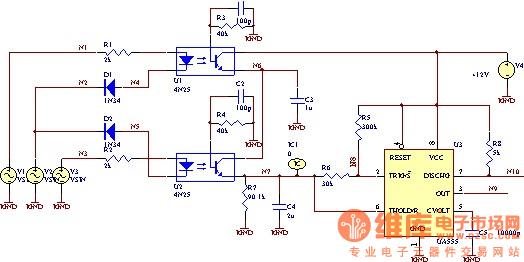 请教三相电源缺相检测电路 附图