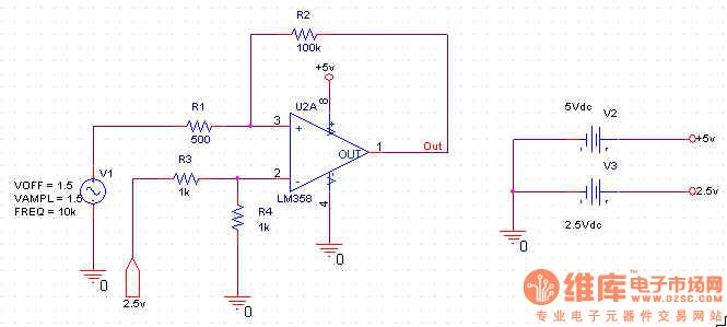 LM311不能外接成迟滞比较器吗? 用LM311外接正反馈构成一个迟滞比较器,迟滞回差 Vtb = Vth - Vtl = 25 mV,如下图所示  Vth = Vref(R1+R2)/R2 = 1.25+0.00625 V,而仿真的结果确是输入信号上半部分(超过Vth)仍为正弦波而不是方波,为何是这样?  * - 本贴最后修改时间:2006-10-2 14:17:28 修改者:mosquit