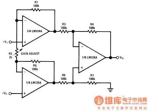用LM324来做仪表放大器时总是调试不对,是什么问题啊? 用LM324中三个运放组成典型的两级放大电路,第二级是典型减法电路,但是测得的三个运放的+、-端的电压差并不等于零,第一级的输入电压由惠斯通电桥输入,在第二级我取的四个电阻是一样的,那么输出应该是(V0)=(V+)-(V-),实际上改变电压差,得到的输出V0却不变,不知道是什么原因?实际运用中运放的+,-两端的电压差是不是为零,如果不是零是什么原因?LM324对输入电压有什么要求吗?另外这个电路是不是还要另外加什么电阻电容,请各位大侠指教!