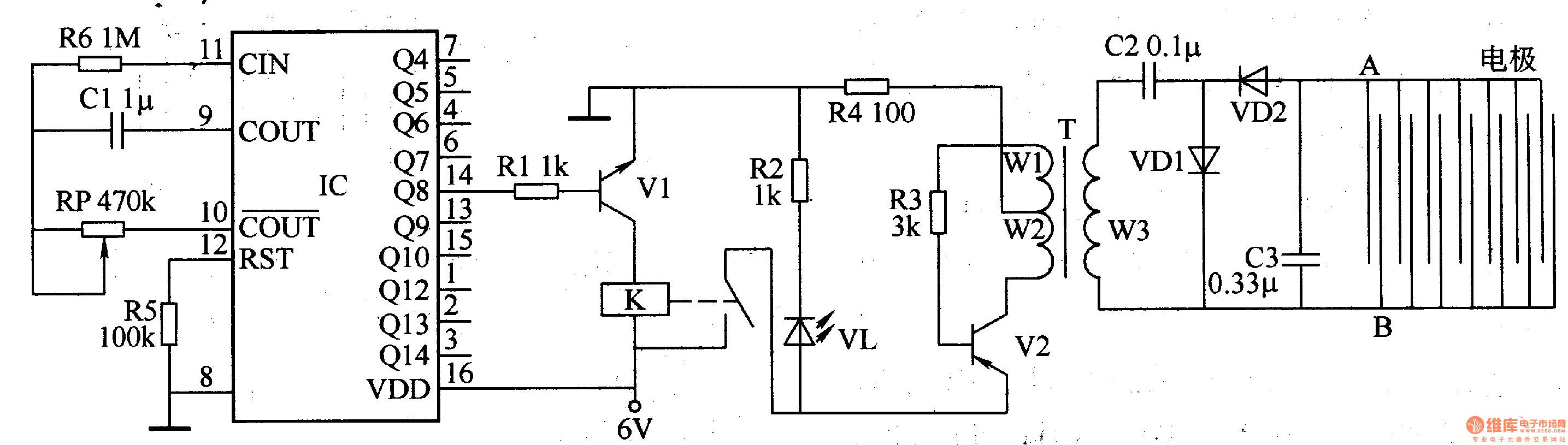、电容器Cl和电位器RP组成.-电子灭蝗器 二