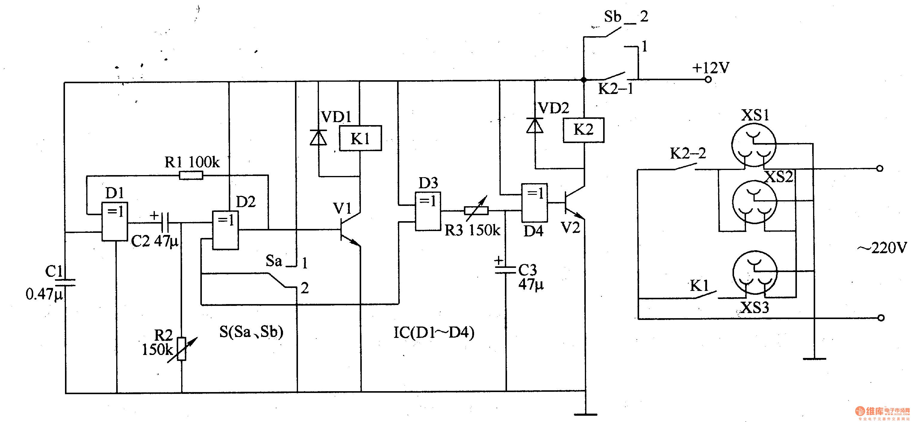 延时控制电路A由四异或门集成电路IC(DlLD4)内Dl、D2、电阻器Rl、R图片