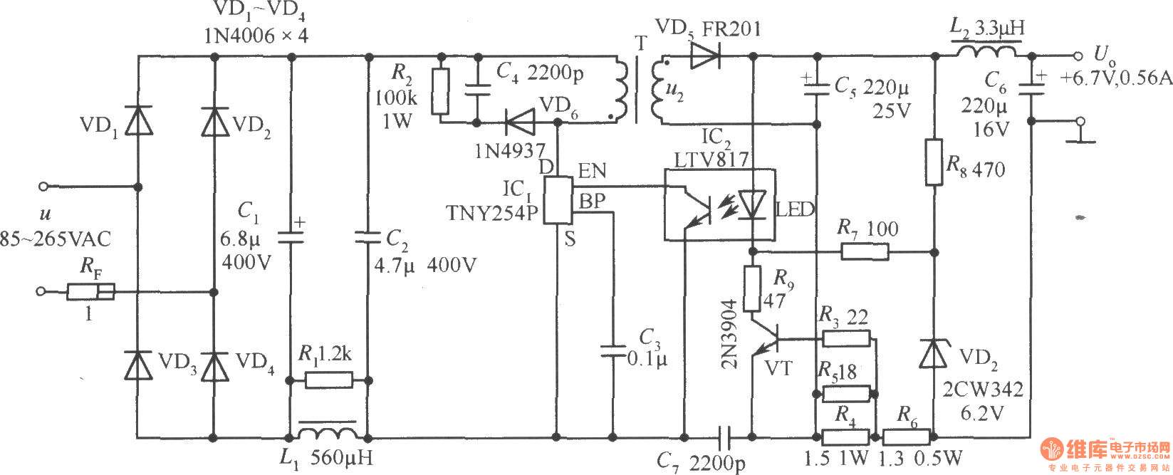 TNY254P构成的+6.7V、0.56A手机电池恒流充电器电路