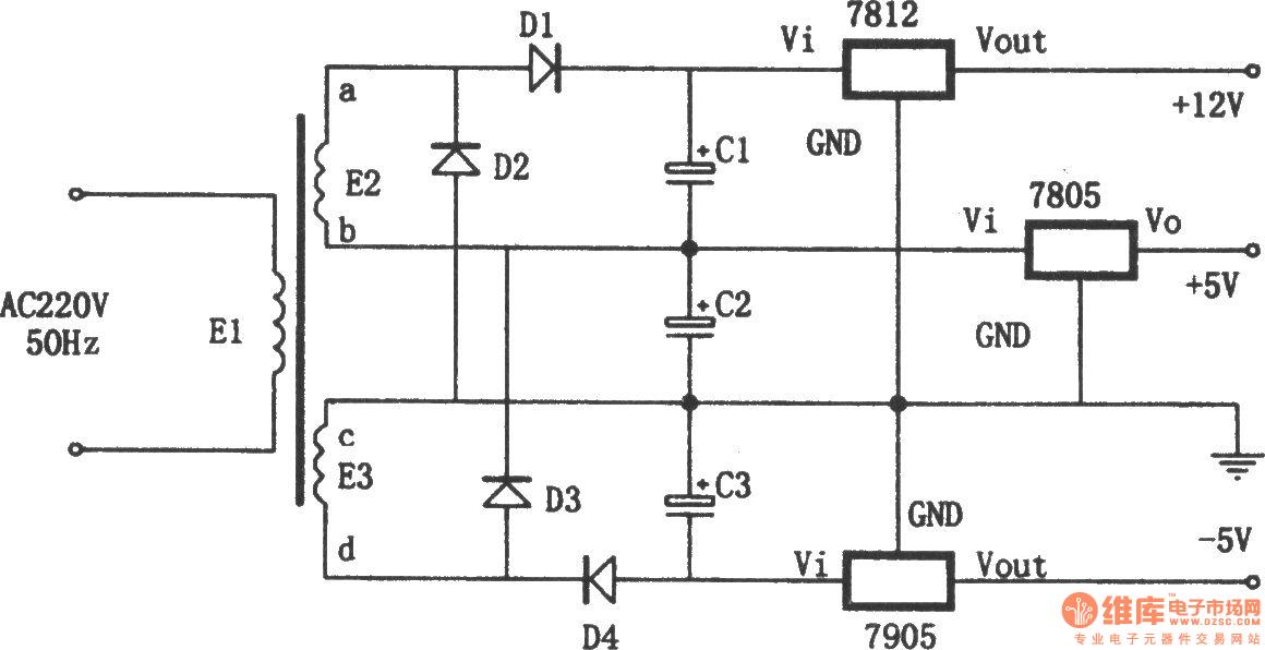 由7805,7905,7812组成的特殊的线性稳压电源