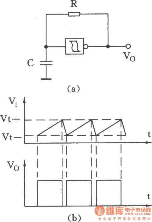 用施密特触发器附加一个电阻和一个电容组成的振荡器电路