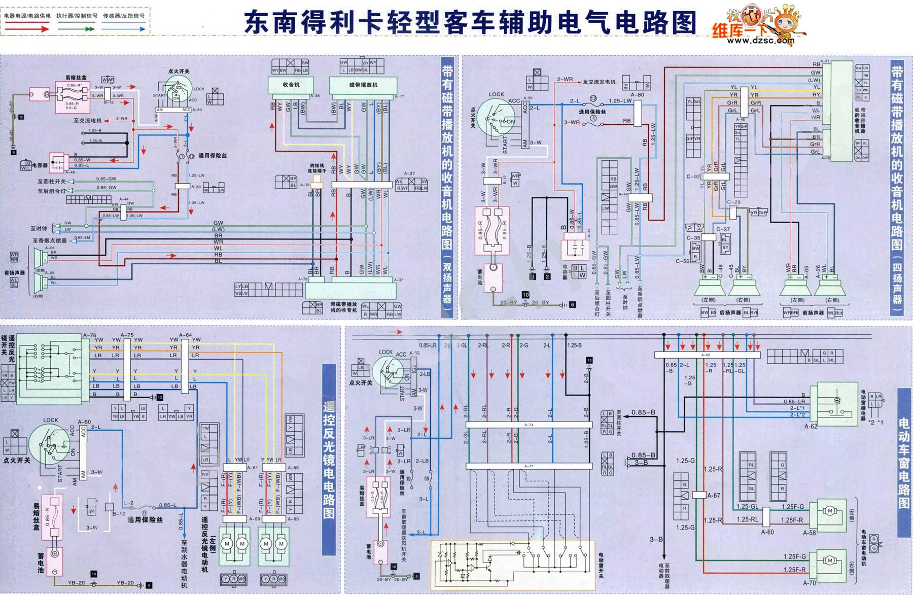 东南得利卡轻型客车辅助电气电路图-东南菱帅电源 起动 点火 冷却与发图片