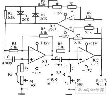 频率可调幅度不变的正弦振荡器电路图