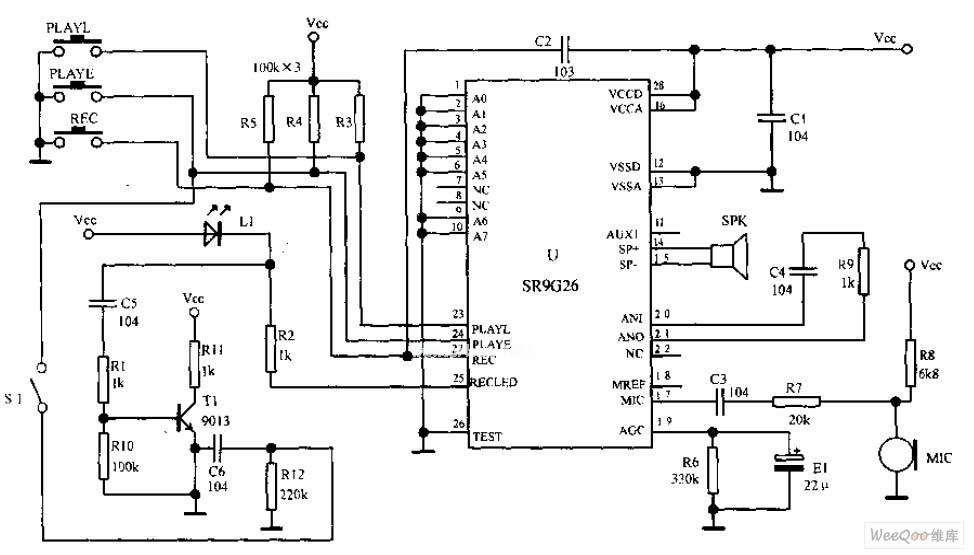 永久记忆型语音的循环放音电路图