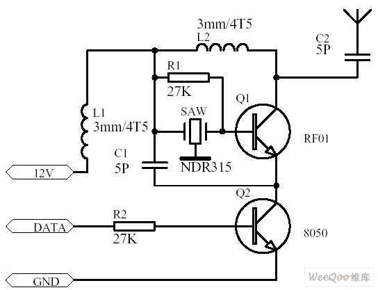 使用声表谐振器的800米发射电路图