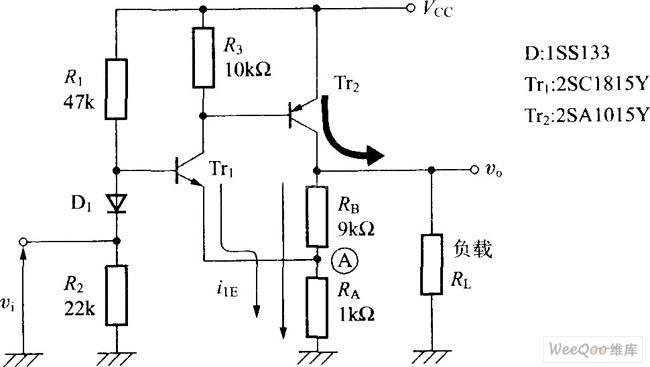 pnp和npn图_采用NPN和PNP的非反转直流放大电路图-增益可调放大-维库电子市场网