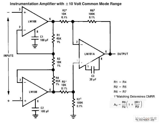 共模信号输入的仪表放大器电路图图片